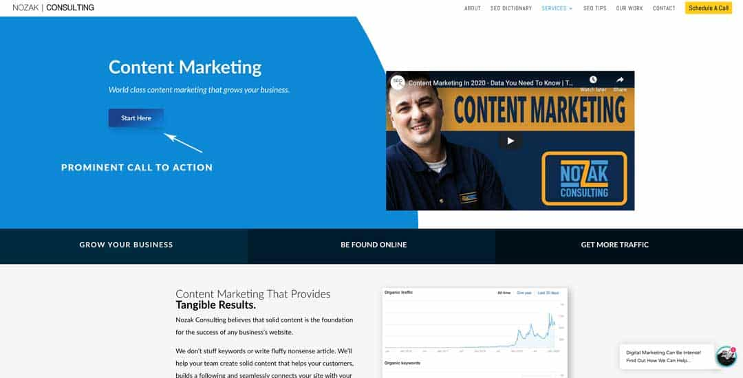 call to action nozak consulting content marketing page